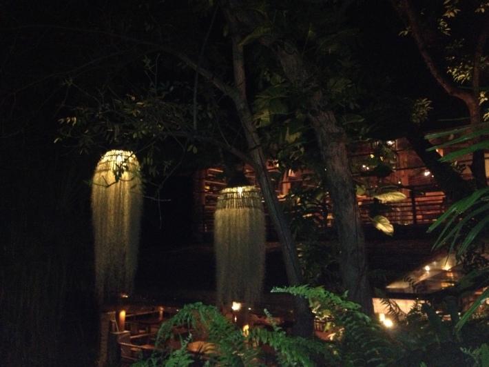 Avatar lamps at night in Kamalaya