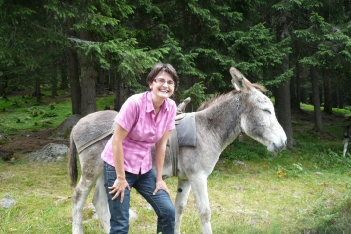 Simina and donkey friend
